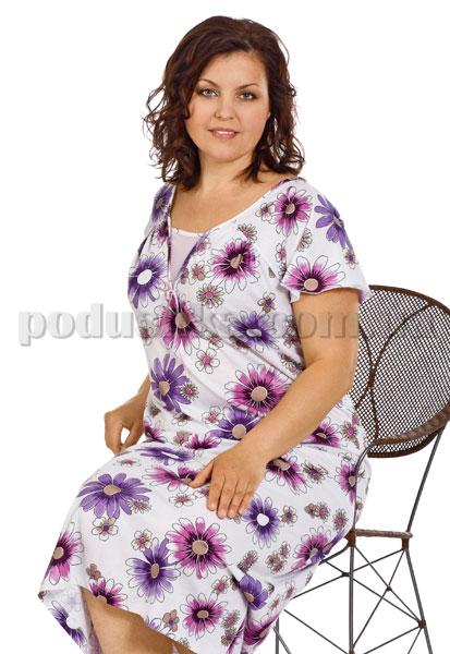 Ночная сорочка Вайде 1374Р (сиреневые и фиолетовые ромашки)