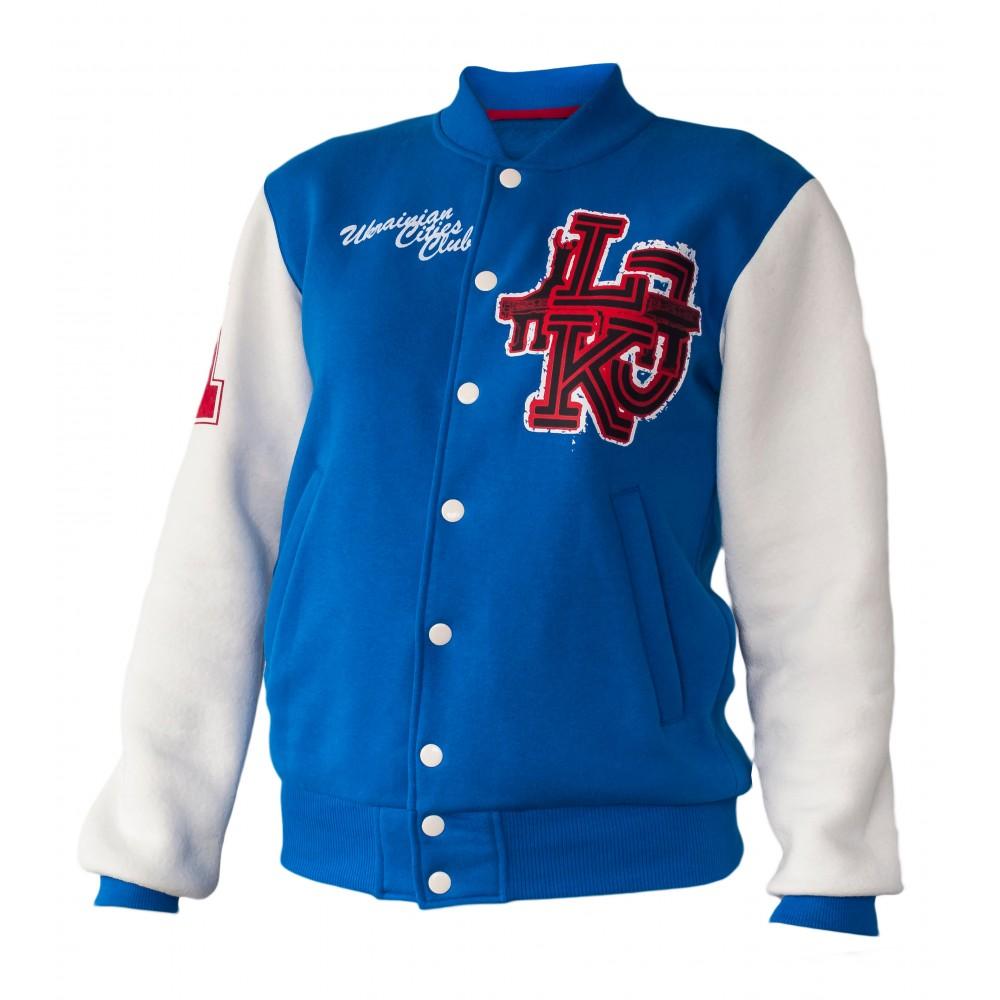 Куртка-американка, синяя, белый рукав бомбер утеплённый Lejeko 0158.3 170  lejeko