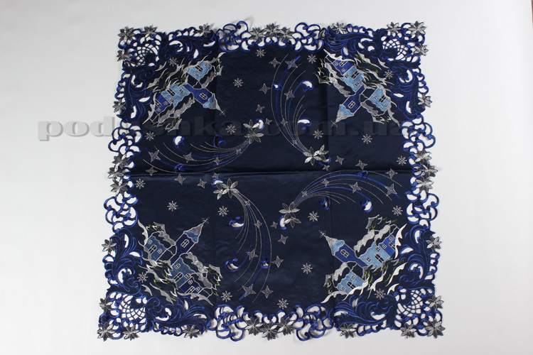 Скатерть атласная новогодняя 127032 синяя