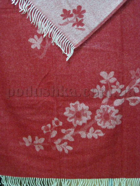 Плед шерстяной (меринос) Ветка сакуры красный
