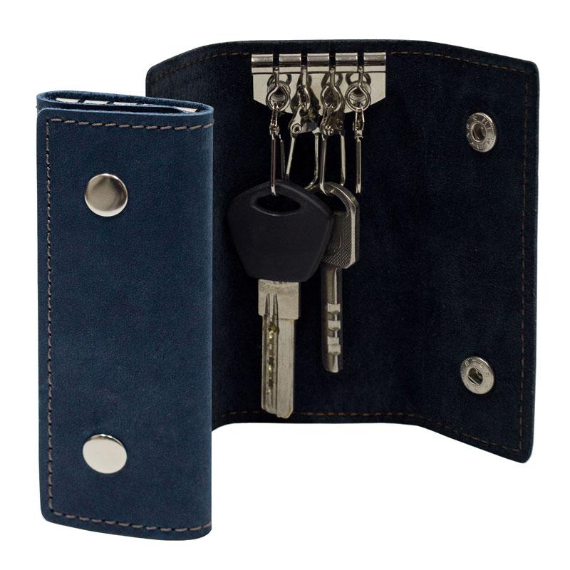 Ключница из натуральной кожи BermuD 4х10 см на 4 ключа S 10-18-05 синяя