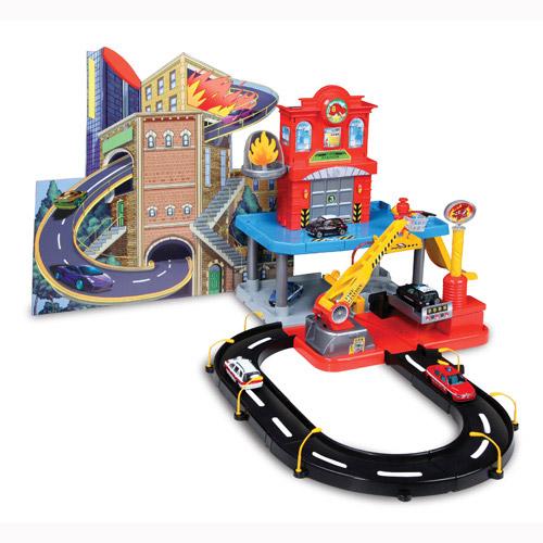 Игровой набор - Гараж  Пожарная станция (2 уровня, 2 машинки, действующий пожарный кран, 1:43)