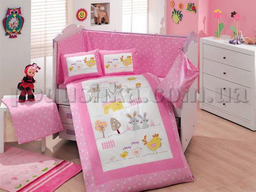 Набор в кроватку для новорожденных Hobby Zoo розовый 10 предметов сатин