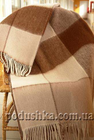 Плед шерстяной Эльф бежево-коричневый, крупная клетка ELF-05.01