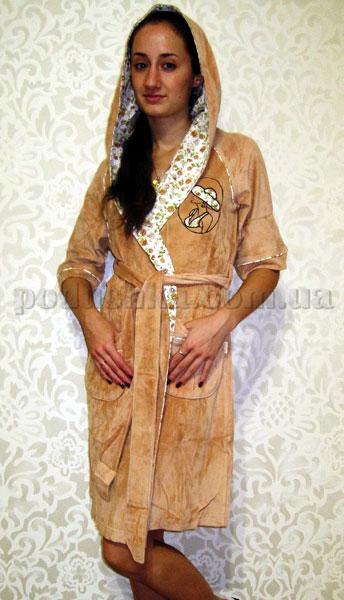 Халат женский короткий с капюшоном Nusa NS-00595