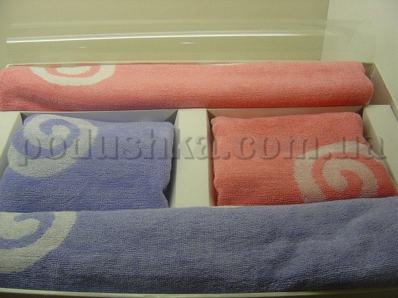 Набор бамбуковых полотенец Le Vele из 6 штук розовая и голубая абстрация