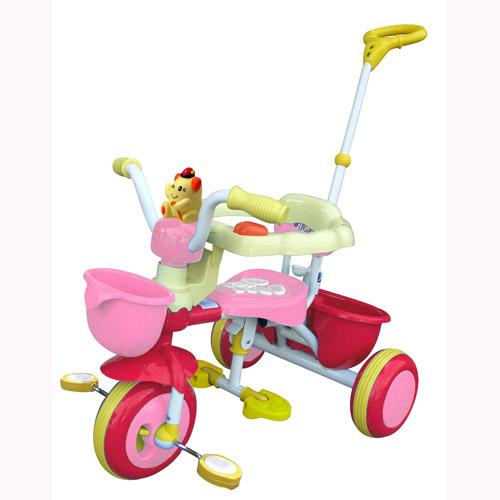 Велосипед трехколесный с игрушкой (розовый)