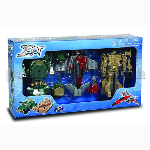 Игровой набор - Робот-Трансформер (15 см), Танк (зеленый), Самолет, Танк (бежевый)