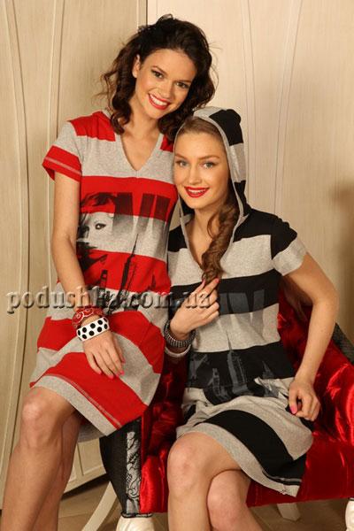Платье для дома 70-083 с капюшоном