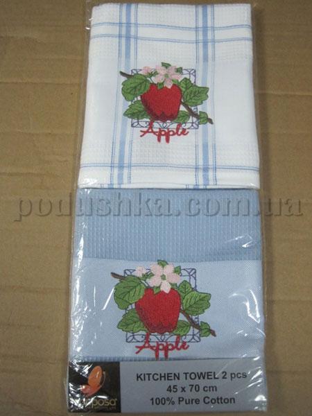Набор вафельных кухонных полотенец Mariposa Яблоко синее