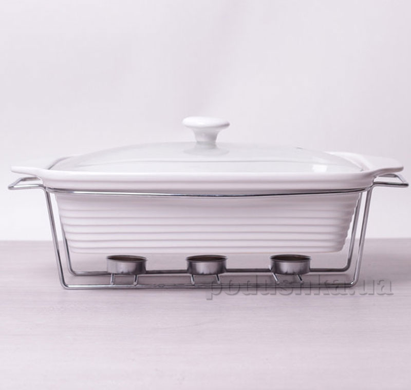 Мармит керамический Kamille AM-6404 прямоугольный 38см 3л со стеклянной крышкой на подставке   Kamille