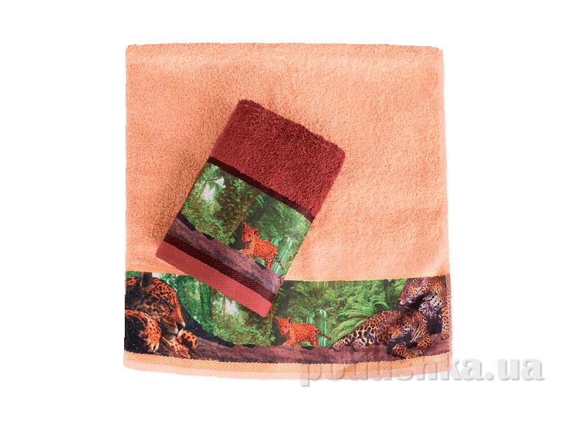 Махровое полотенце Романтика Ягуар коричневое