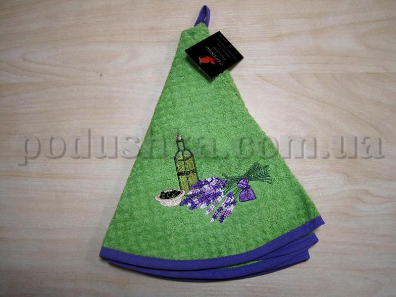 Полотенце махровое кухонное круглое Mariposa Букет зеленый