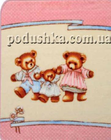 Плед детский Медвежата на розовом (de luxe kids)