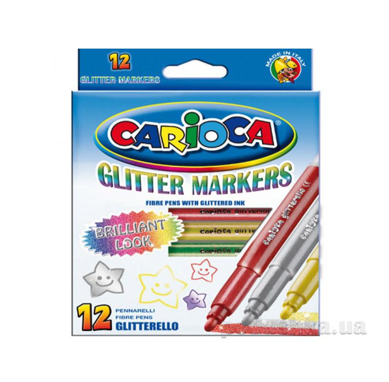 Набор цветных фломастеров Glitterello с блестками Carioca 41200