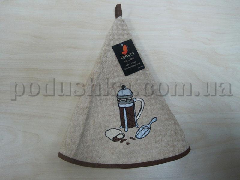 Полотенце махровое кухонное круглое Mariposa Кофеварка бежевое