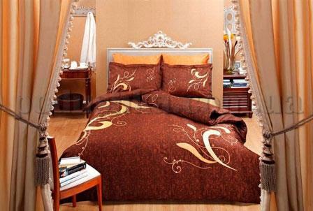 Постельное белье TAC Eva коричневый сатин-люкс