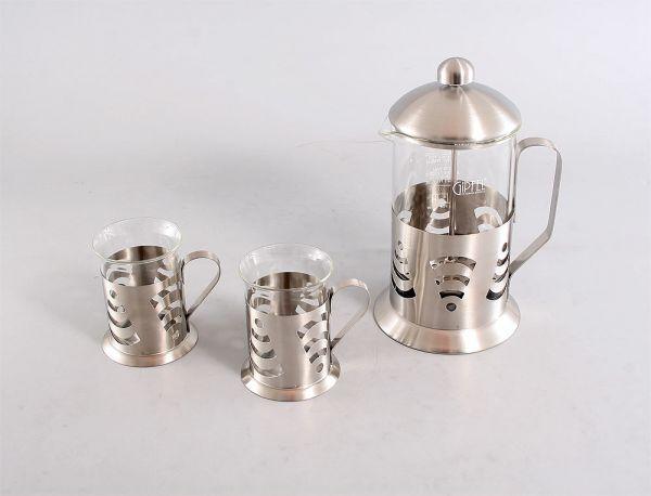 Кофейник 800мл  и 2  стакана 200мл (стекло, нерж сталь) 8539