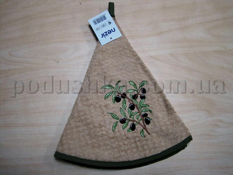Полотенце махровое кухонное круглое Mariposa Маслины ветка бежевое
