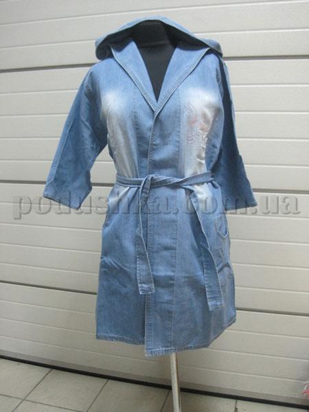 Халат женский джинсовый с капюшоном Nusa NS-850