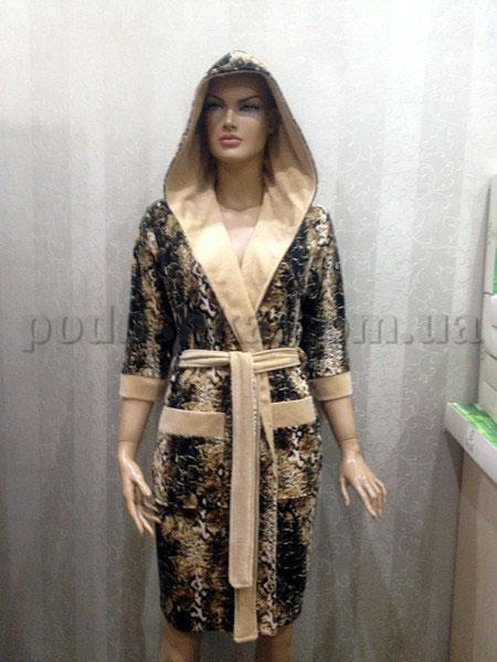Халат женский короткий с капюшоном Nusa NS-15110