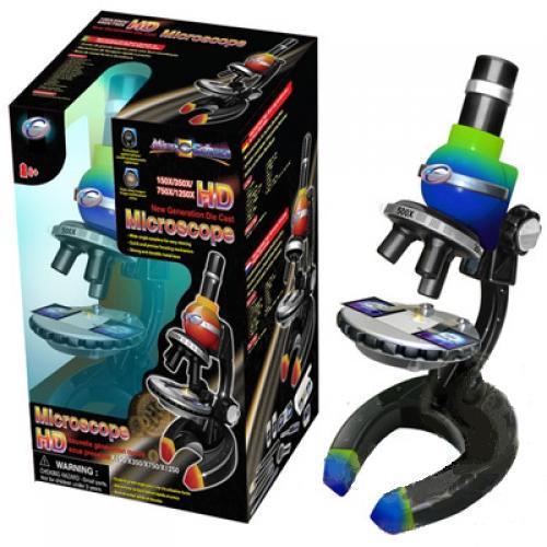 Микроскоп зелено-синего цвета 100x250x550x750