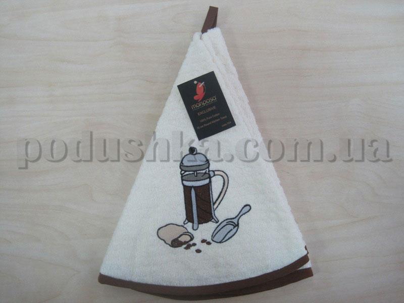Полотенце махровое кухонное круглое Mariposa Кофеварка крем