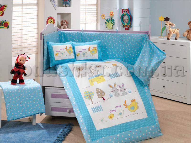Набор в кроватку для новорожденных Hobby Zoo голубой 10 предметов сатин