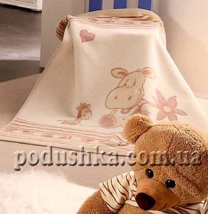 Плед детский Розовый бегемот