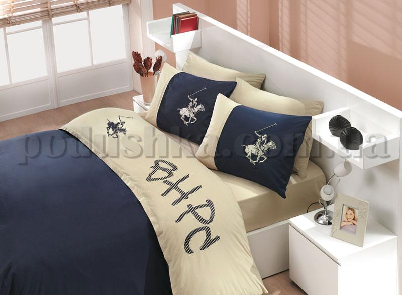 Постельное белье BHPC 151 кремово-синий сатин с вышивкой