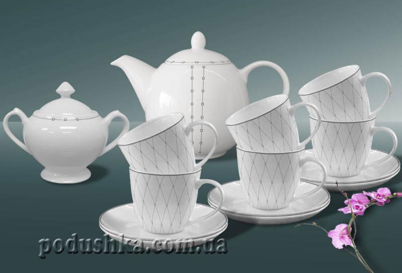Сервиз чайный фарфор 14пр. Bristol platinum De Luxe