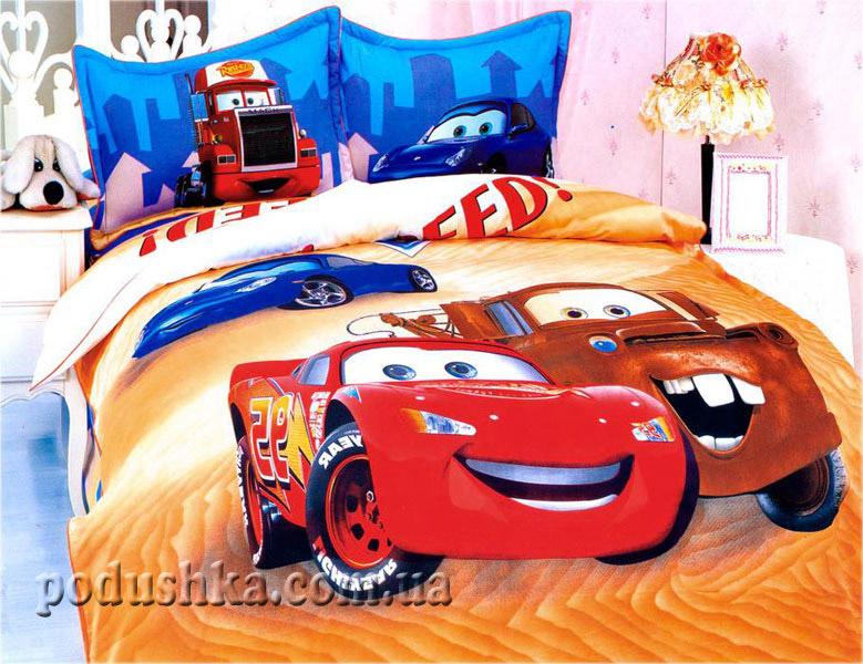 Постельное белье Машинки на оранжевом, детский