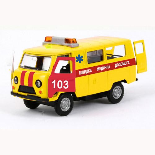 Автомодель - УАЗ-39625 Скорая Помощь (желтая, свет, звук)