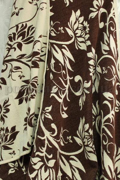 Покрывало шенилловое Klippan Saule 1811 шоколадно-белое