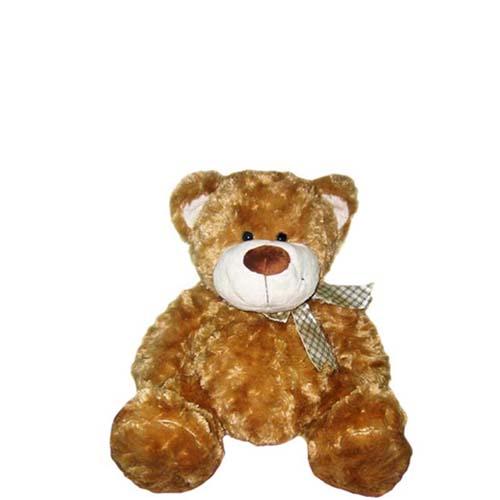 Мягкая игрушка - Медведь коричневый, с бантом, 25 см