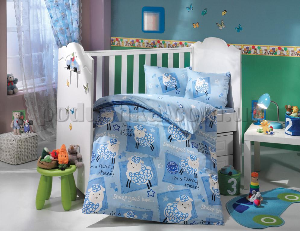 Постельное белье в кроватку Hobby Little Sheep голубой