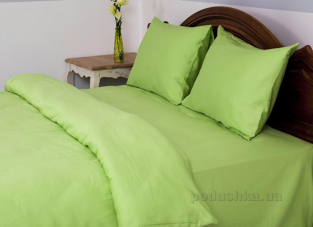 Постельное бельё отель Lotus сатин Классик зеленое Двуспальный евро комплект  Lotus