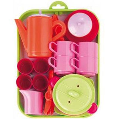 Детский игровой набор посуды с подносом