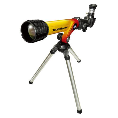 Телескоп с штативом желто-красного цвета