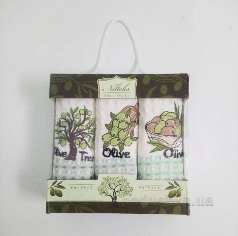 Набор вафельных полотенец из 3 шт. Nilteks 35х50 Olive Tree