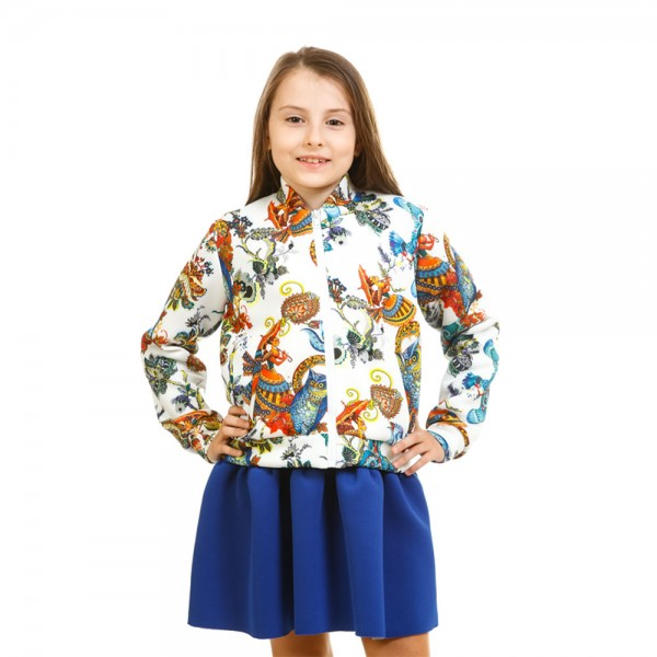 Бомбер из неопрена для девочки Совы Kids Couture 17-230 белый