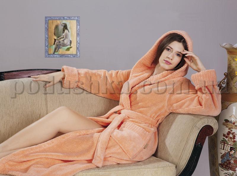 Халат женский махровый длинный с капюшоном Nusa NS-1615