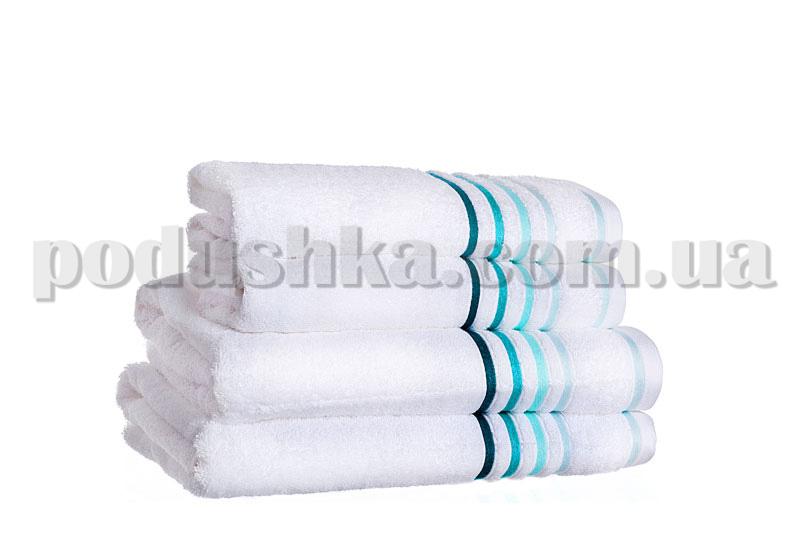 Полотенце махровое SPRING белый/бирюза
