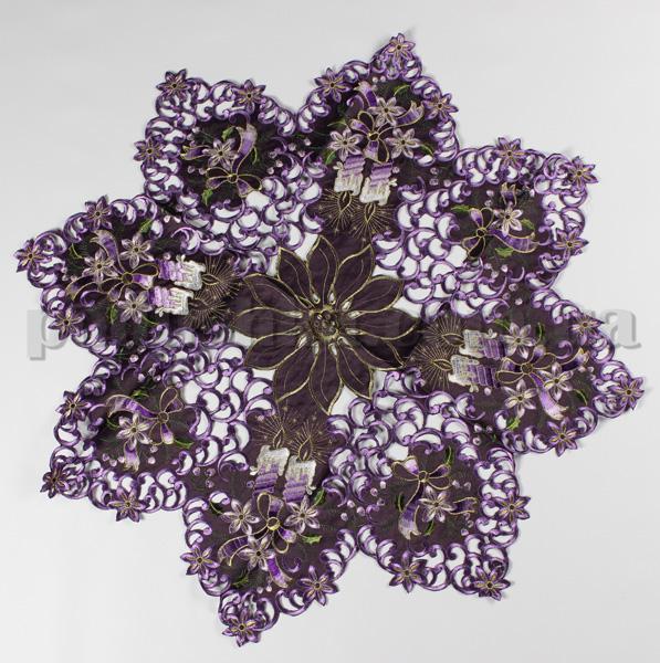 Скатерть атласная новогодняя 108029 фиолетовая