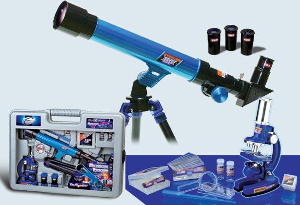 Набор микроскоп100х,200х,450х+телескоп20х,30х,40х