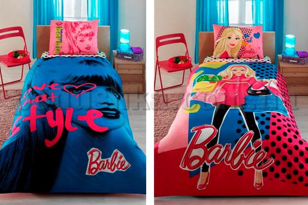 Постельное белье TAC Barbie love style с простыней на резинке