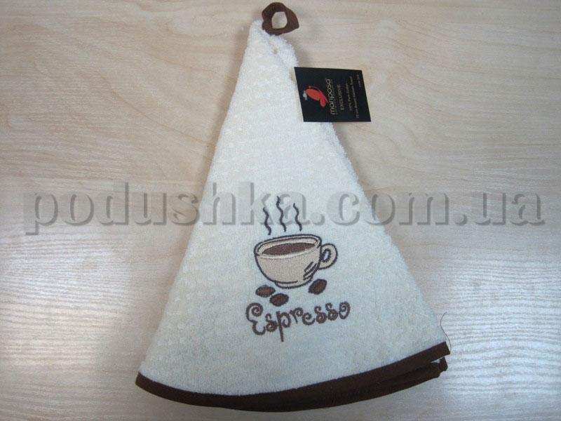 Полотенце махровое кухонное круглое Mariposa Эспрессо кремовое