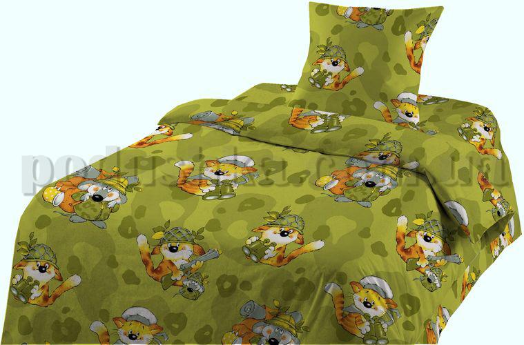 Постельное белье в кроватку Шуйские ситцы Кот на охоте - коллекция Персик