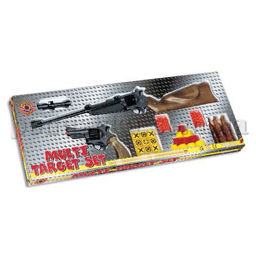 Тир - MULTI TARGET (8-зарядное ружье, прицел, 8-зарядный кольт, 40 пуль, 3 мишени)