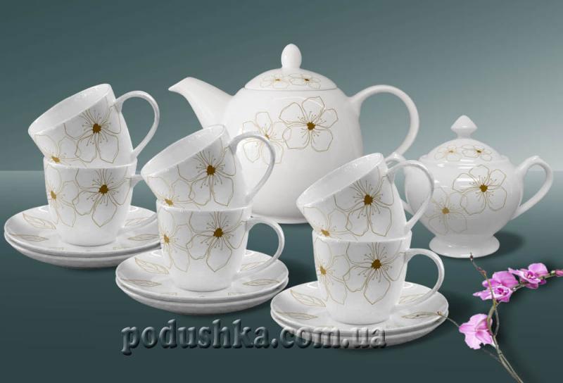 Сервиз чайный фарфор 14пр. Louvre gold De Luxe